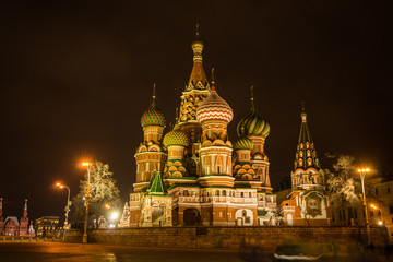 Scenic night view of the St. Basil's Cathedral,