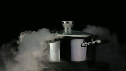 boiling water in a pan