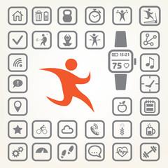fitness tracker icons set