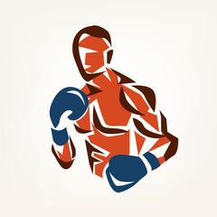 stylized boxer silhouette, boxing symbol