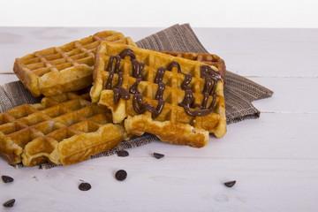 Waffle. Belgium waffles with chocolate