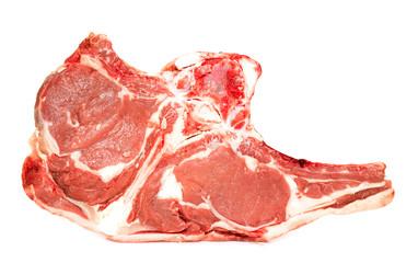 Fresh raw meat on the bone, white background