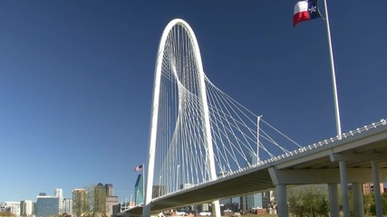 Margaret Hunt Bridge Texas And American Flags
