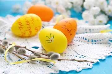 Easter postcard with easter colored eggs