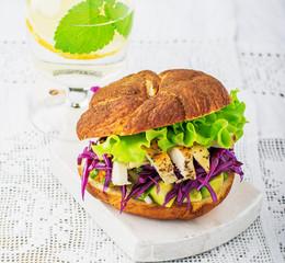 Closeup of home made burgers