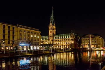 Hamburg town hall at the night