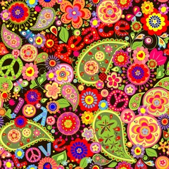 Hippie wallpaper with colorful spring flowers