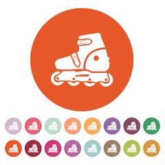 The roller skate icon. Skates symbol. Flat