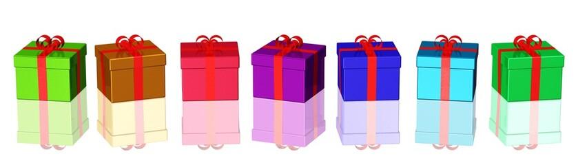 eine Reihe bunter Geschenkpakete