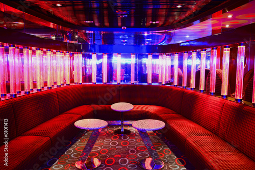 Red VIP club interior with beautifull lighting