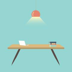 Flat design vector illustration of Computer desk, workplace