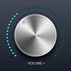 Volume knob with metal texture, stock vector