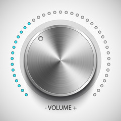 Volume knob with metal texture, realistic vector