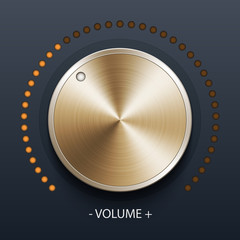 Volume knob with gold texture, stock vector