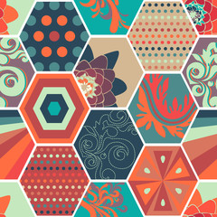 Seamless abstract background made of colorful honeycombs