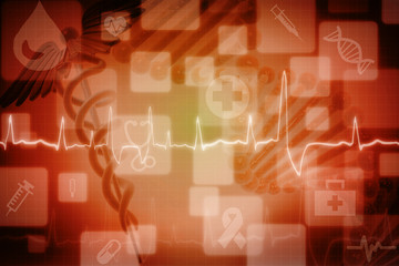 Digital illustration of Medical logo with colour background