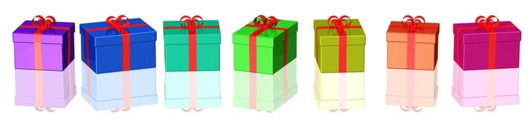 verschiedene bunte Geschenkpakete