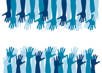 comunità, azzurro, blu, mani, braccia