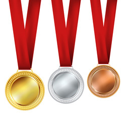 set of medals on white backgorund