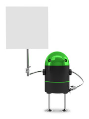 Robot with placard