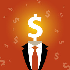 Illustration of a man with a dollar sign instead of a head