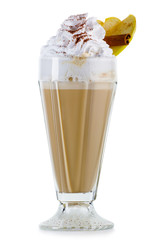 Coffee cocktail with cream (frappuccino) with fruits and spices