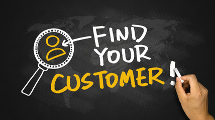 find your customer hand drawing on blackboard