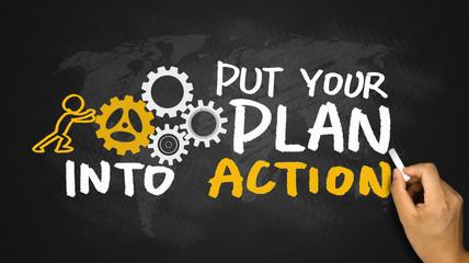 put your plan into action handwritten on blackboard