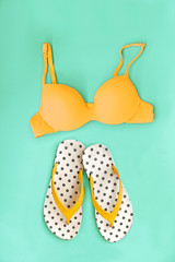 Summer Bikini Concept with Bikini and Flip Flop Sandals