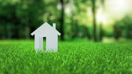 White paper house animation on green nice summer grass mortgage