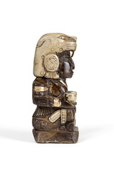 Statue of Mayan god bonfires home isolated with clipping path.