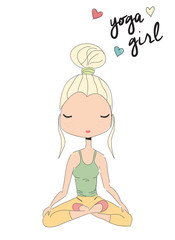 Yoga girl sitting in lotus pose, hand drawn