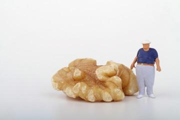 miniatura di uomo obeso e noce