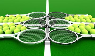 Tennis school. Tennis rackets and balls on a green background.