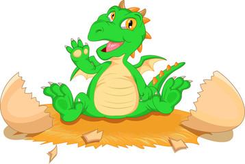 Cute dinosaur cartoon hatching