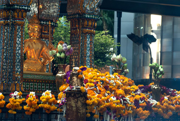 The shrine of the four-faced Brahma (Phra Phrom) in Thailand.