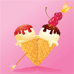 Vanilla Ice cream cones with Chocolate and strawberry glaze in h