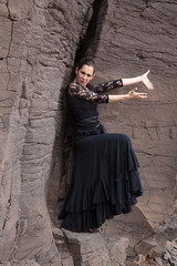 Flameco dancer in a basalt ravine