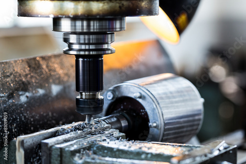 drilling machine in factory workshop - 81019459