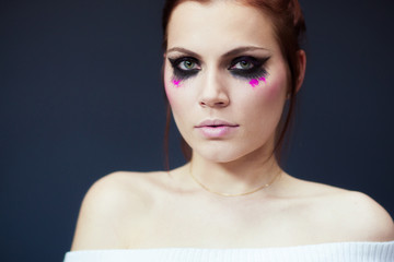 Creative make-up with pink and black
