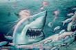 Leinwandbild Motiv Graffiti requin