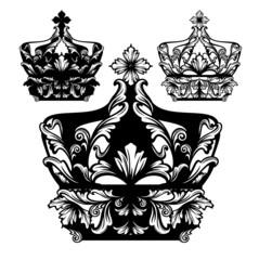 crown black and white design set