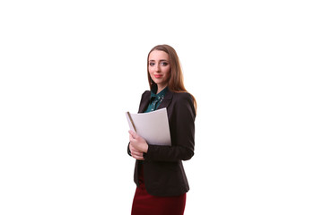 Indian businesswoman holding white placard copy space white back