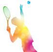 Abstract Tennis Player Serving in Beautiful Summer Haze. - 81021074