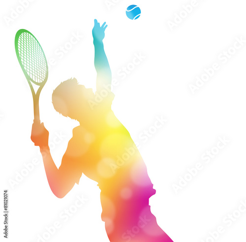 Abstract Tennis Player Serving in Beautiful Summer Haze. - 81021074