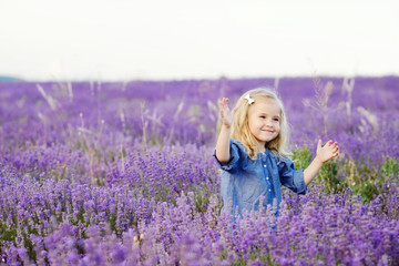 happy  girl in lavender field