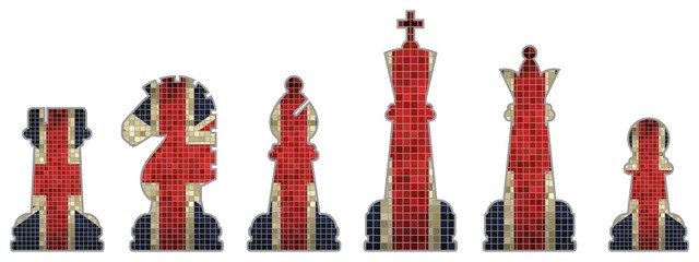Chess pieces with Great Britain flag
