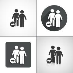 Replacing men icon. Flat shadow designs.