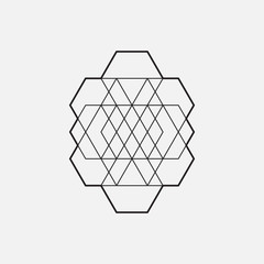 Geometric element, line design, triangle and hexagon pattern