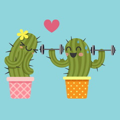 loving couple of cactus with dumbbell